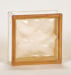 Nubio Glass Block - Peach - 7.5 X 7.5 X 3